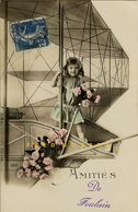 1912 Foulain France Hand-Tinted Postcard: Girl In Photographer's Prop Biplane - Sonstige Gemeinden
