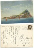 Regno Piroscafo Conte Savoia Crociera Ge-NY 20lug1939 Color Pcard Gibraltar Rock - Paquebote