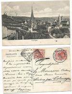 Italy Leoni C.10 + Germany Pf.10 Mixed Franked B/w Pcard Esslingen 10jul1908 To Luino VA X Colmegna - 1900-44 Victor Emmanuel III