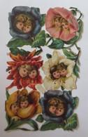 1. Bogen Oblaten, Kinder, Blumen, Metamorphose,   1900 ♥ (57321) - Immagine Tagliata