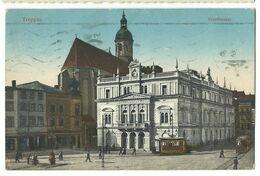 Troppau Opava Stadttheater Mit 2 Straßenbahnen 1912 - Sudeten