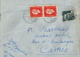 TYPE MARIANNE De DULAC N°685x2 + 713 SUR LETTRE DE LACAUNE/18.5.45 - 1944-45 Marianne Van Dulac