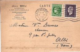 TYPE MARIANNE De DULAC N°687 + 675 SUR CARTE COMM. DE CARCASSONNE/2.11.45 - 1944-45 Maríanne De Dulac
