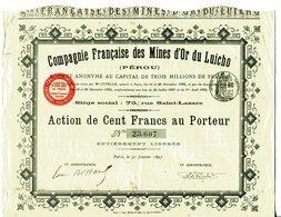 COMPAGNIE FRANCAISE Des MINES D'OR Du LUICHO (Pérou) - Miniere