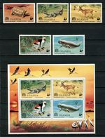 OUGANDA 1977 N° 142/146 Bloc 7 ** Neufs MNH Superbes C 24 € Faune Tortue Crocodiles Singes Dugong Animaux - Uganda (1962-...)