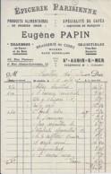 14 . CALVADOS . FACTURE / LETTRE . ST AUBIN S MER . BRASSERIE ET EPICERIE PARISIENNE EUGENE PAPIN . 1926 - France