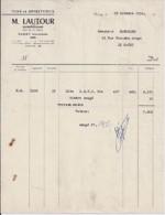 14 . CALVADOS . FACTURE / LETTRE . VASSY . VINS ET SPIRITUEUX M. LAUTOUR . 1954 - France