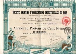 SOCIETE D'APPLICATIONS INDUSTRIELLES DU BOIS - LOT DE 5 ACTIONS ILLUSTREES DE 100 FRS -ANNEE 1918 - Industrie