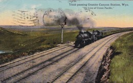 300943Wyo, Train Passing Granite Canyon Station ''online Of Union Pacific.'' 1913 (see Corners) - Otros