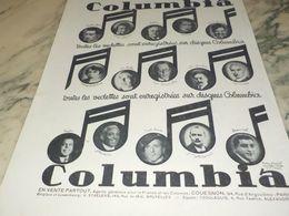 ANCIENNE PUBLICITE LES VEDETTES COLUMBIA GRAMOPHONE  1930 - Manifesti