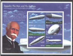 PK314 BHUTAN AVIATION ZEPPELIN THE MAN & HIS AIRSHIPS 1KB MNH - Zeppelins