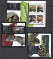 PK453 2012 GUYANA REPTILES OF SOUTH AMERICA #8290-93 MICHEL 25,5 EURO 1KB+2BL MNH - Reptiles & Amphibians