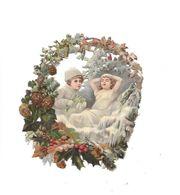 Grand Découpi Couple Enfants Dans Couronne Fleurs, - Ragazzi