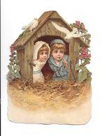 Grand Découpi Gauffré  Couple Enfants Dans Un Nid, Colombes, - Ragazzi