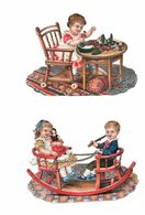 Lot De 2 Découpis, Couples Enfants, Jouets,poupée, Fauteuil Double à Bascule, - Children