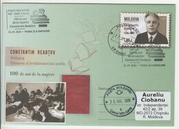 2020 , MOLDOVA ,  MOLDAVIE , C. Reabtsov , Pedagogue , 100th Birth Anniversary , Pre-paid Envelope - Moldavia