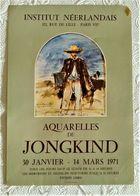 AFFICHE ANCIENNE ORIGINALE EXPOSITION AQUARELLES DE JONGKIND 1971 Institut Néerlandais Paris 7è - Manifesti
