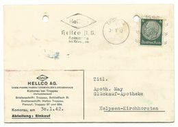 "Troppau Opava Postkarte Maschinenstempel ""HELLCO A.G."" 1942 Nach Helpsen - Sudetenland"