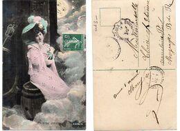 Femme élégante Assise Sur Un Tonneau - Cachet Meyrargues à Eyguières (119655) - Women