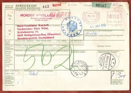 Paketkarte, Absenderfreistempel Hi-Pres Naestved, Ueber Flensburg Velbert Nach Heiligenhaus 1973 (96475) - Denmark