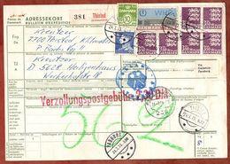 Paketkarte, Wappenloewe U.a., Thisted Ueber Padborg Flensburg Velbert Nach Heiligenhaus 1973 (96476) - Denmark