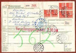 Paketkarte, Wappenloewe, Thisted Ueber Padborg Flensburg Velbert Nach Heiligenhaus 1973 (96477) - Denmark
