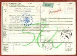 Paketkarte, Absenderfreistempel Kobenhavn, Ueber Flensburg Nach Velbert 1973 (96478) - Denmark