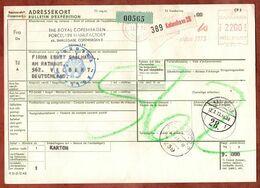 Paketkarte, Absenderfreistempel Kobenhavn, Ueber Flensburg Nach Velbert 1973 (96479) - Denmark