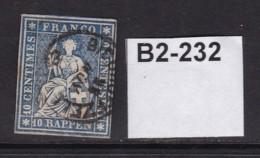 Swizerland 1854 Sitting Helvetia (imperf) 10r - 1854-1862 Helvetia (Non-dentelés)