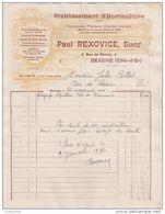 21 BEAUNE FACTURE 1933 ETablissement D' HORTICULTURE  Paul REXOVICE Anc. DORLIN GORGET   -  Y54 - France