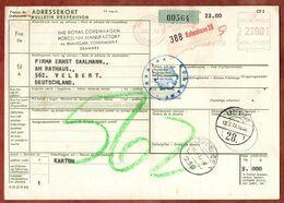 Paketkarte, Absenderfreistempel Kobenhavn, Ueber Flensburg Nach Velbert 1973 (96480) - Denmark