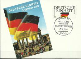 """BRD 1477 """"Briefmarke Auf Sonderkarte Aus Satz Deutsche Einheit """" Sonderstempel Mi.-Preis 4,50 - BRD"""