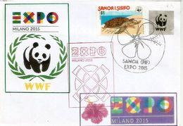 SAMOA EXPO UNIVERSELLE MILAN 2015 Lettre Du Pavillon SAMOA à L'EXPO MILAN, Avec Timbre WWF SAMOA - Turtles
