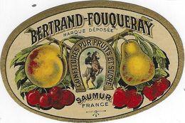 49 SAUMUR ETIQUETTE PUBLICITE BERTRAND FOUQUERET CHROMOGRAPHIE CAVALIER CHEVAL CONFITURES FRUITS - Etiquettes