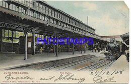 139611 SOUTH AFRICA JOHANNESBURG STATION TRAIN YEAR 1906 CUT CIRCULATED TO PRETONIA POSTAL POSTCARD - Cartoline