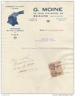 """21 BEAUNE FACTURE 1929  électricite  Redresseurs De Courant """" TUNGAR """" TSF T.S.F.  G. MOINE -  Y54 - Electricity & Gas"""