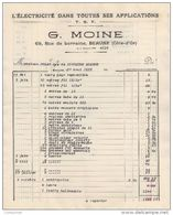 21 BEAUNE FACTURE 1928 ELECTRICITE TSF T.S.F. G. MOINE  -  Y54 - France