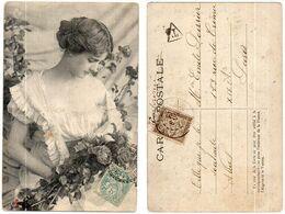 Femme Et Fleurs - CPA Taxée    (119662) - Women