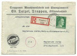"Troppau Opava Firmen-R-Brief ""ETMA"" 1945 Nach Wegierska Gorka - Sudetenland"
