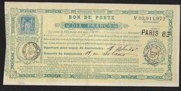 """France """"bons De Poste""""  1889- H2 (Dix Francs)- Signé Scheller RARE - Otros"""