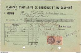 38 GRENOBLE FACTURE 1925 SYNDICAT D' INITAIATIVE De GRENOBLE Et Du Dauphiné  * Z36 - France