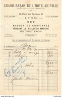 69 LYON FACTURE 1930 GRAND BAZAR DE LYON Place Des Terreaux  * Z36 - France