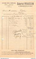 38 VAULNAVEYS LE HAUT FACTURE 1927 VINS Gabriel ROUSSIN    * Z36 Saint MARTIN D 'URIAGE - France
