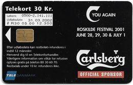 Denmark - Tele Danmark (chip) - Roskilde Festival '00 - Carlsberg - TDR030 - 03.2002, 12.300ex, 30kr, Used - Denmark