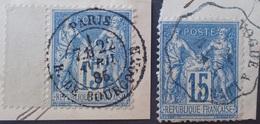 R1286/258 - SAGE II N°90 (sur Fragment) - CàD : PARIS RUE DE BOURGOGNE 22 AVRIL 1885 / Cachet CONVOYEUR : VOGUE à LIVRON - 1876-1898 Sage (Type II)