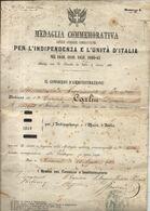 ITALIE . DIPLOME MEDAILLE POUR INDEPENDANCE DE L'ITALIE - Dokumente