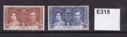 Antigua 1937 Coronation 1½d And 2½d (MM) - Antigua & Barbuda (...-1981)