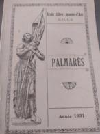 Ecole Libre Jeanne D'Arc Lille Palmarès Année 1931 - Diploma & School Reports