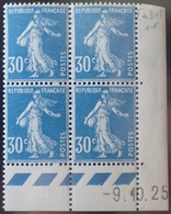 R1306/89 - 1925 - TYPE SEMEUSE FOND PLEIN - N°192 BLOC NEUF** CD : 9.10.25 - Coins Datés