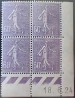 R1306/90 - 1924 - TYPE SEMEUSE FOND LIGNE - N°200 BLOC NEUF** CD : 18.6.24 - TRES BON CENTRAGE - Coins Datés